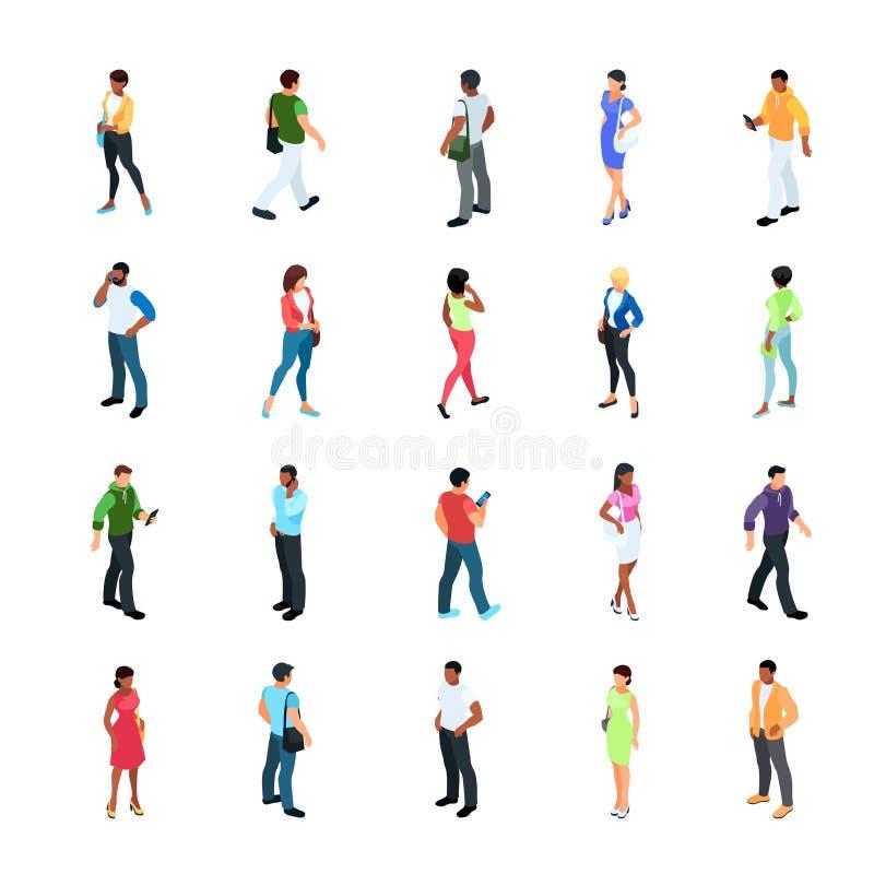 Sistema de gente isométrica con diverso color de piel ilustración del vector