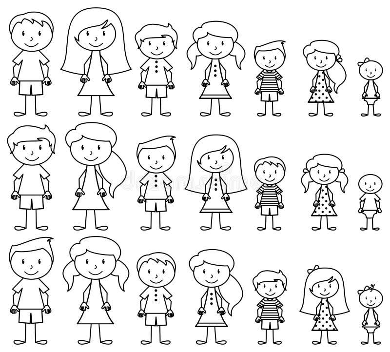 Sistema de gente linda y diversa del palillo en formato del vector libre illustration