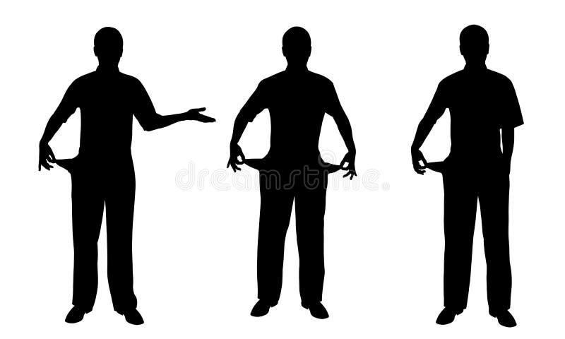 Sistema de gente que muestra los bolsillos vacíos ilustración del vector