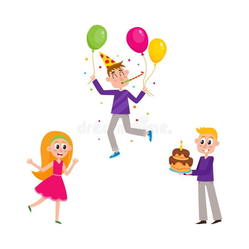 Sistema de gente que se divierte en la fiesta de cumpleaños libre illustration