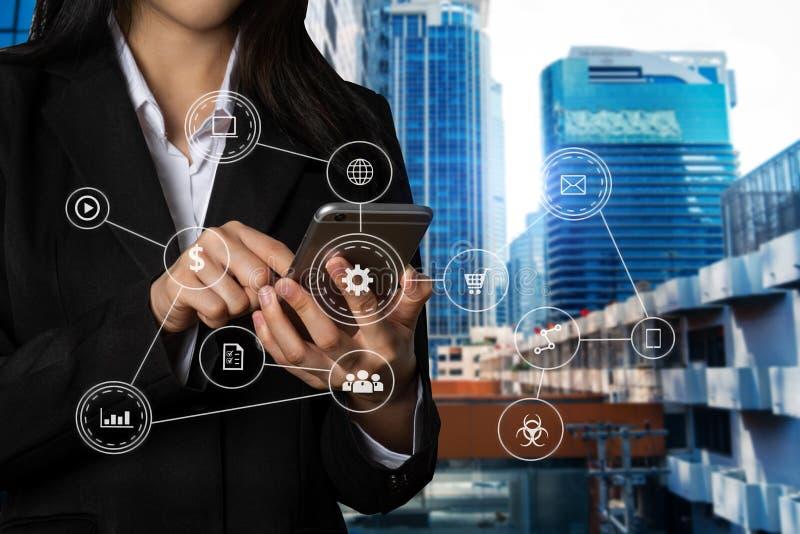 Sistema de gestão de dados com funcionamento do negócio fotografia de stock royalty free