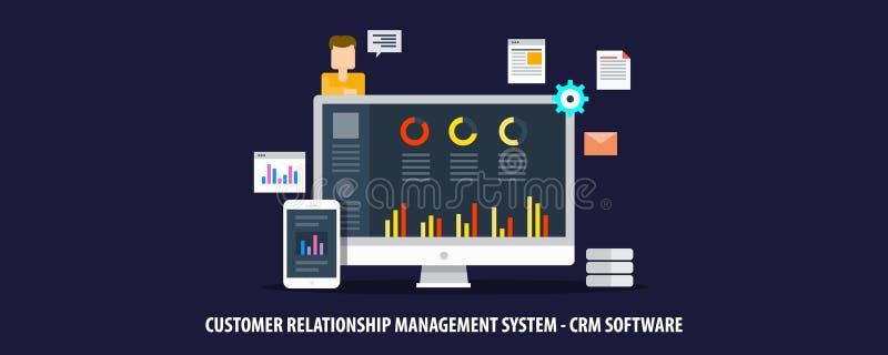 Sistema de gestión de la relación del cliente, software del crm, concepto del analytics del perfil de cliente Bandera plana del v stock de ilustración