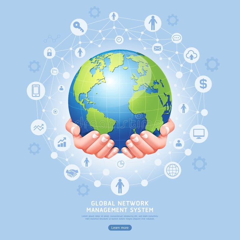 Sistema de gestión de red global conceptual Tierra en vector de las manos ilustración del vector