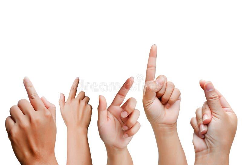 Sistema de gestos de mano de las mujeres aislado en el fondo blanco foto de archivo