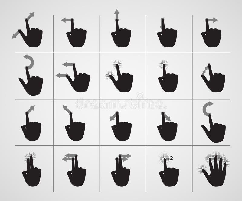 Sistema de gestos de mano de los iconos libre illustration