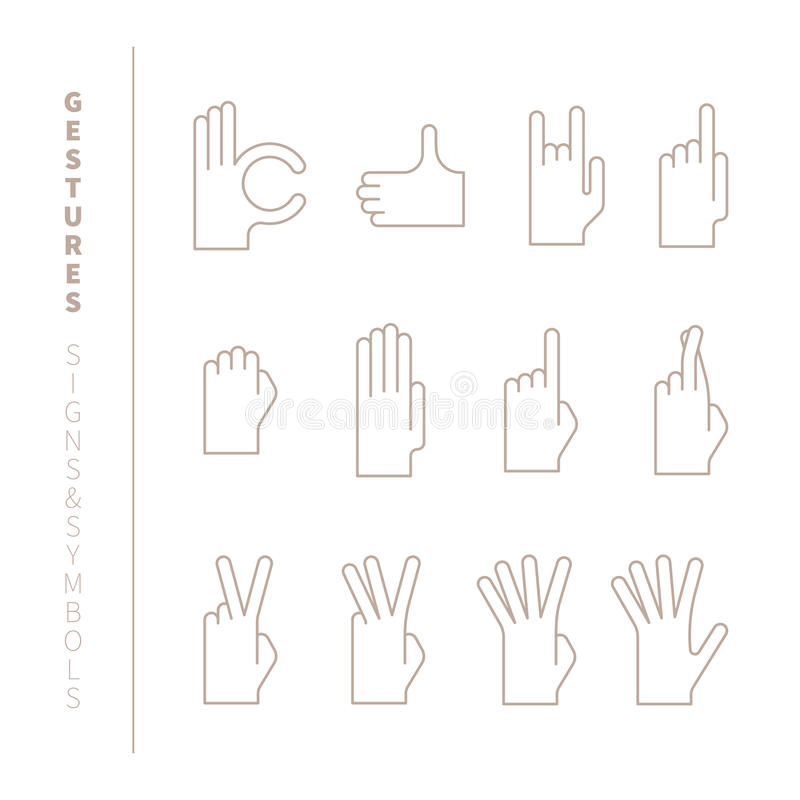 Sistema de gestos de mano del vector en la mono línea estilo fina stock de ilustración