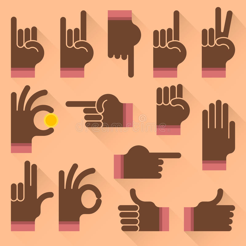 Sistema de gestos de manos del hombre negro stock de ilustración