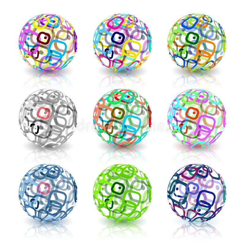 Sistema de globos abstractos hechos de rect?ngulos retros Tecnolog?a conceptual stock de ilustración