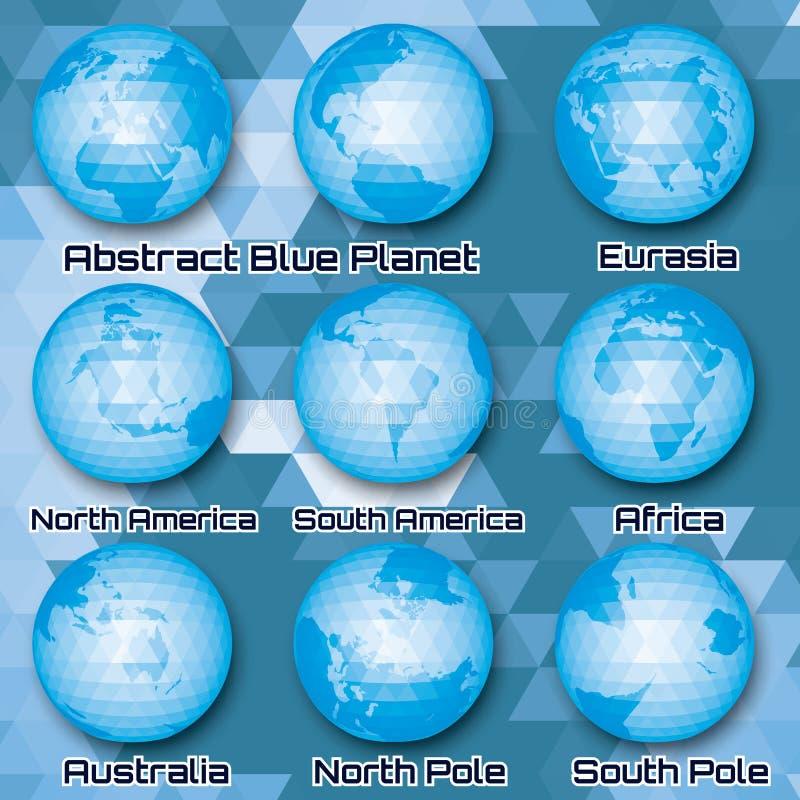 Sistema de globos abstractos poligonales con los continentes ilustración del vector
