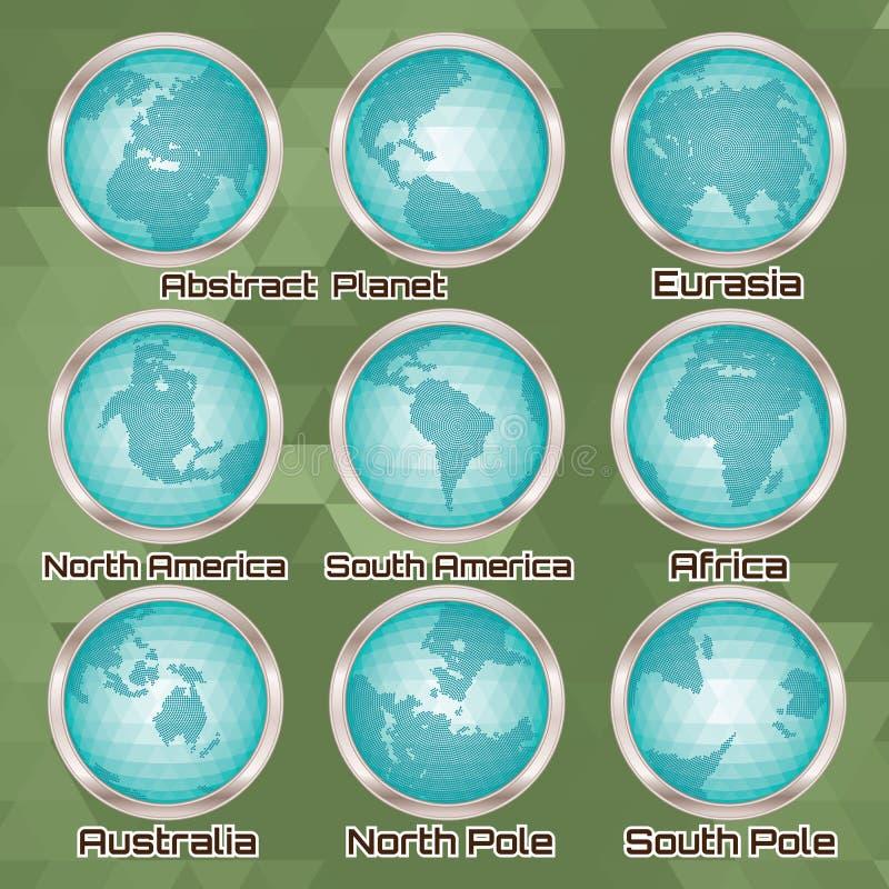 Sistema de globos abstractos poligonales con los continentes libre illustration