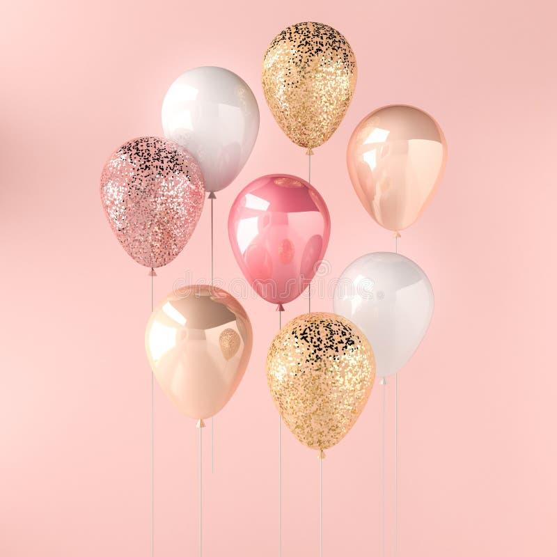 Sistema de globos brillantes rosados, blancos y de oro en el palillo con las chispas en fondo rosado 3D rinden para el cumpleaños ilustración del vector