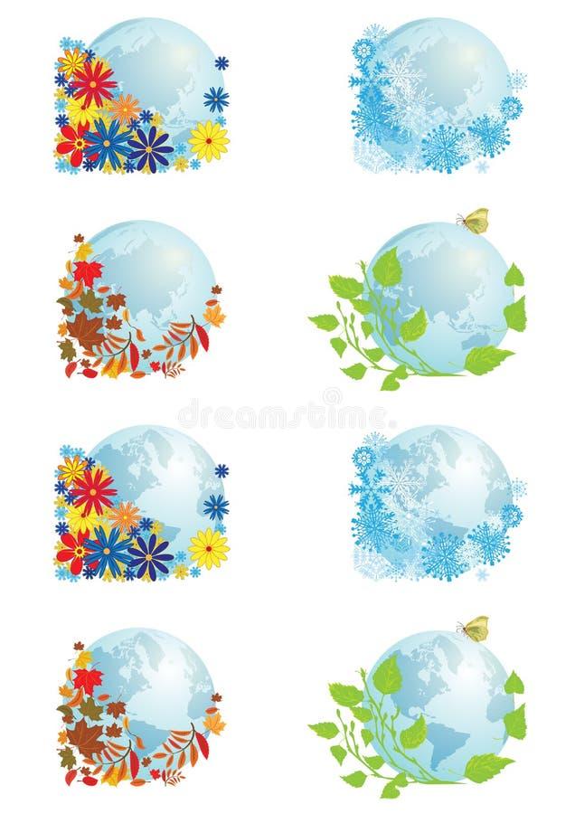 Sistema de globos cuatro estaciones libre illustration
