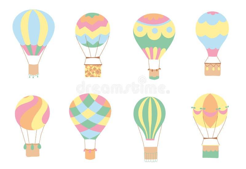 Sistema de globos del aire caliente del vector ilustración del vector