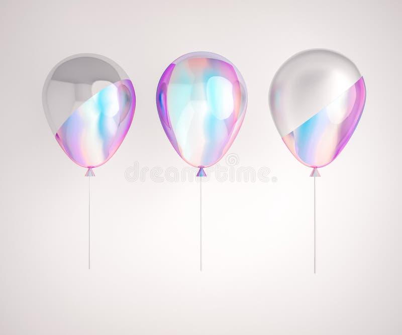Sistema de globos de la hoja olográfica y de plata de la irisación aislados en fondo gris Elementos realistas de moda del diseño  libre illustration