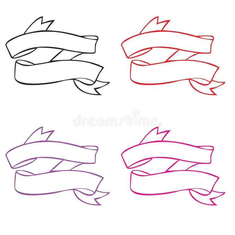 Sistema de goma moderno de la bandera del vintage stock de ilustración