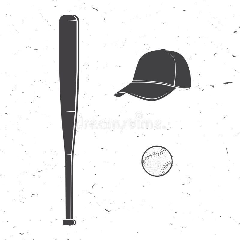 Sistema de gorra de béisbol, de bola, de silueta del palo para los emblemas, de logotipo y de etiquetas Ilustración del vector stock de ilustración