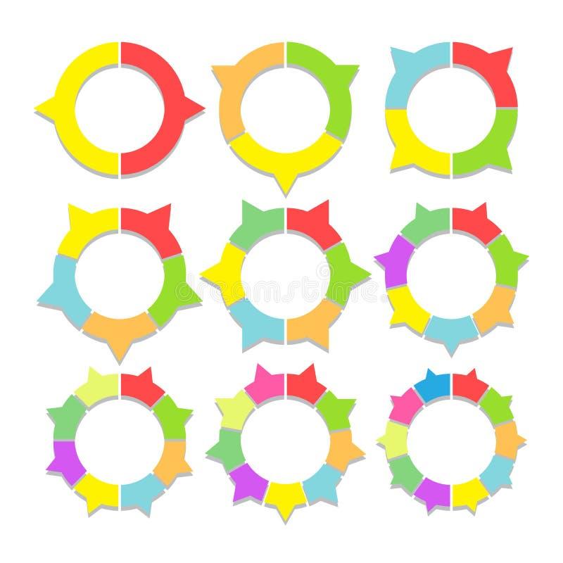 Sistema de gráficos circulares coloreados en forma del anillo Gráficos sectoriales de las plantillas en estilo plano Elementos co stock de ilustración