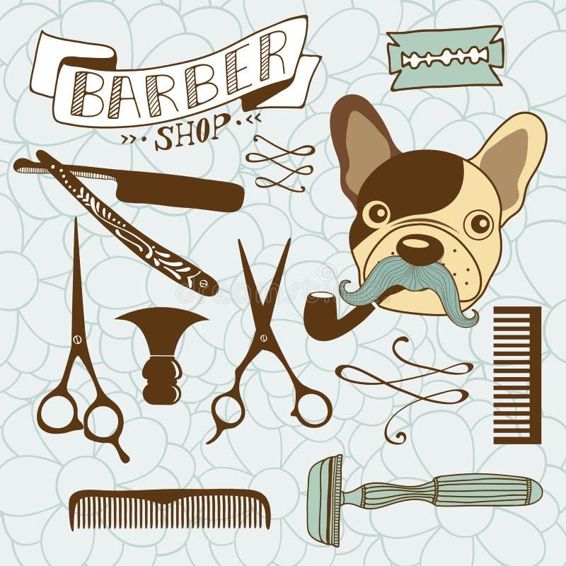 Sistema de gráficos de la peluquería de caballeros y del peluquero del vintage ilustración del vector