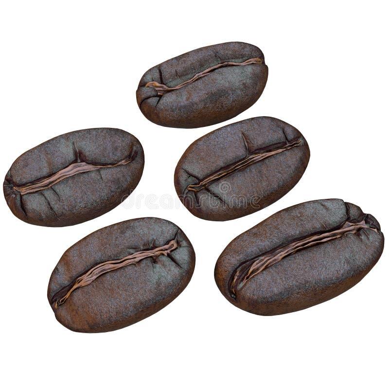 sistema de granos de café, aislado en el fondo blanco, stock de ilustración