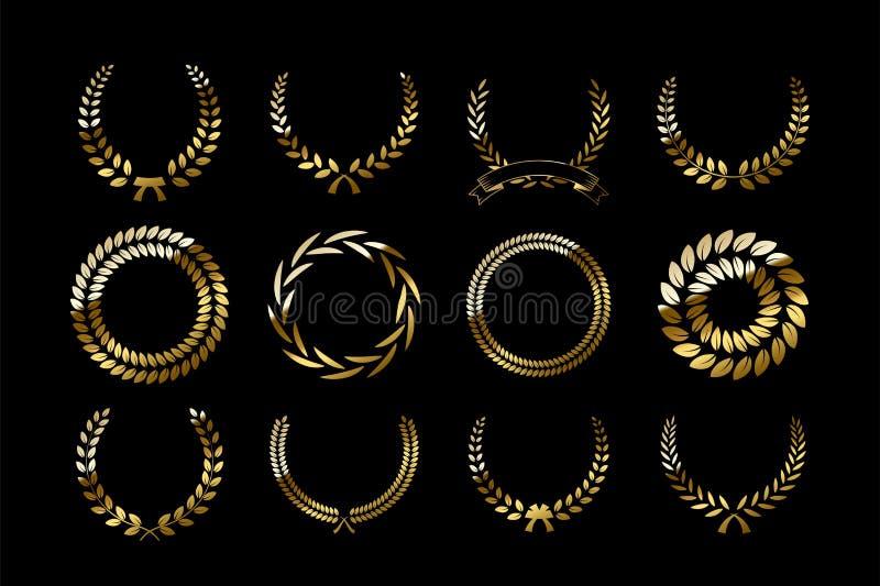 Sistema de guirnaldas de oro del laurel aisladas en fondo negro Elementos del diseño del vector ilustración del vector