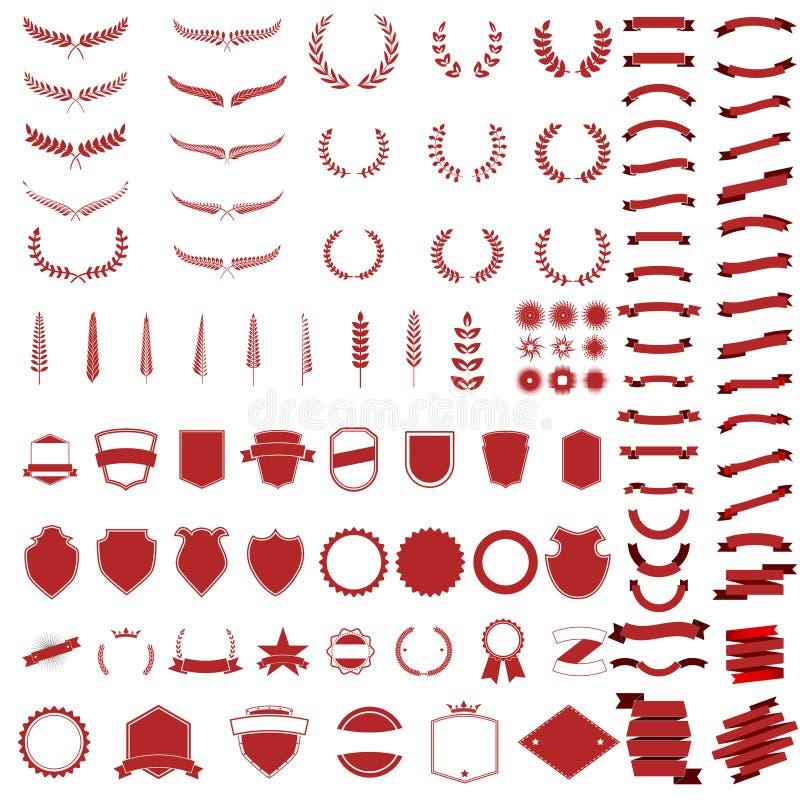 Sistema de guirnaldas y de ramas del vector stock de ilustración