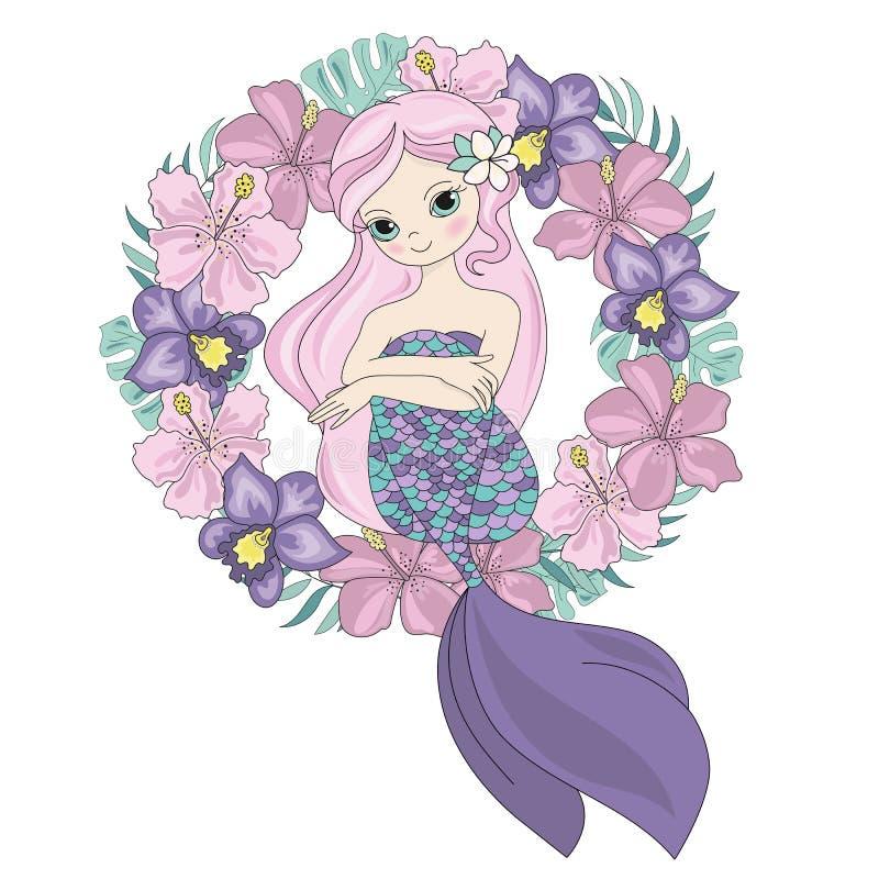Sistema DE HADAS de princesa Wreath Vector Illustration de la sirena de la REINA stock de ilustración