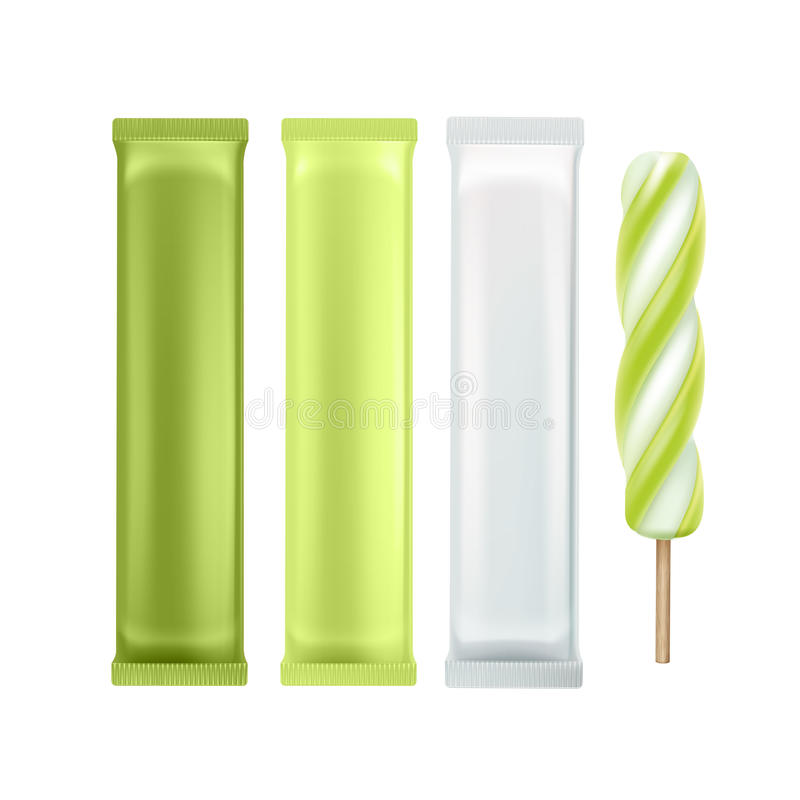 Sistema de helado de la piruleta del polo en el palillo stock de ilustración