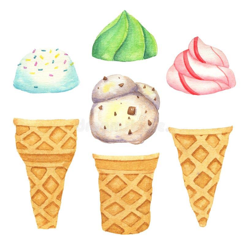 Sistema de helado dibujado mano de la acuarela Ejemplo de la acuarela para el menú del restaurante Historieta, aislada Cree el he libre illustration