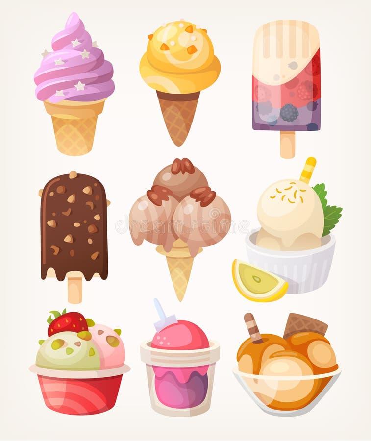Sistema de helado sabroso colorido stock de ilustración
