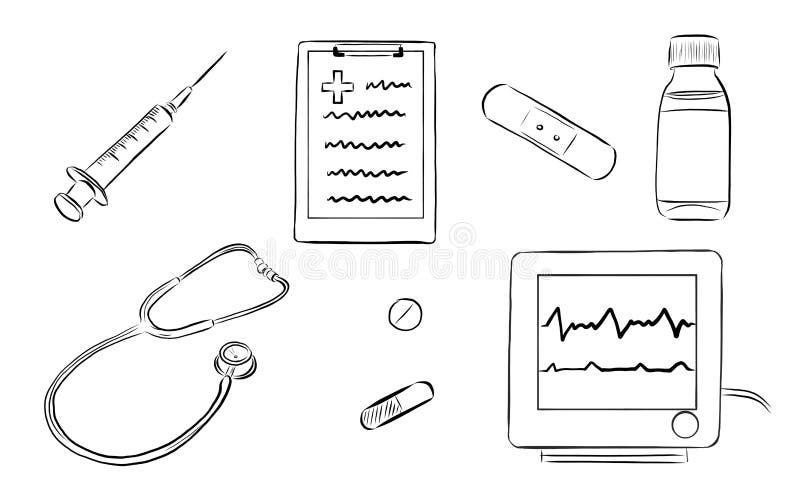 Sistema de herramienta dibujado mano del doctor stock de ilustración