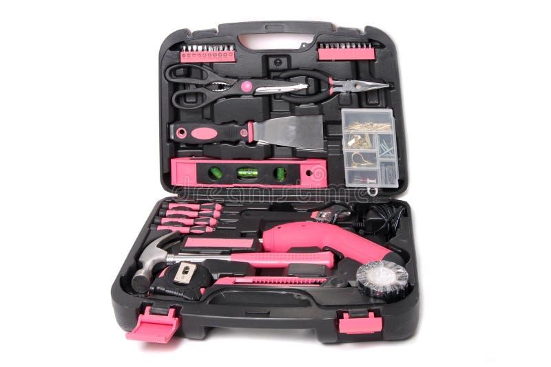 Sistema de herramienta rosado en caja fotografía de archivo