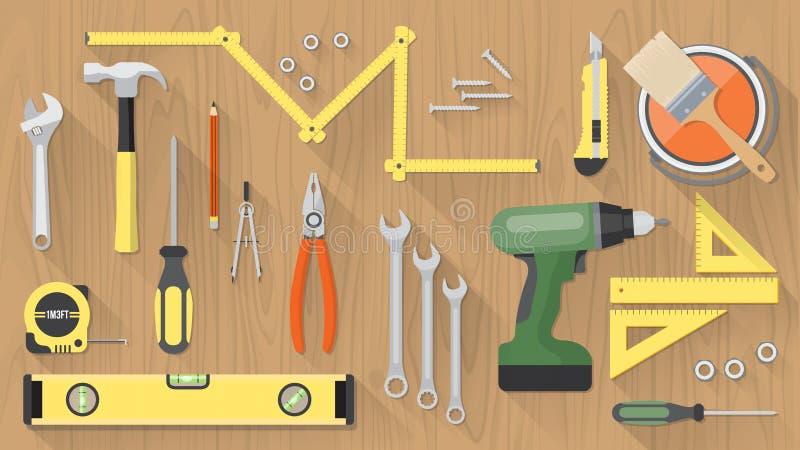 Sistema de herramientas de DIY stock de ilustración