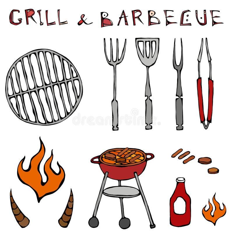 Sistema de herramientas de la barbacoa: Bifurcación del Bbq, pinzas, parrilla con la carne, fuego, salsa de tomate, cuernos de Bu ilustración del vector