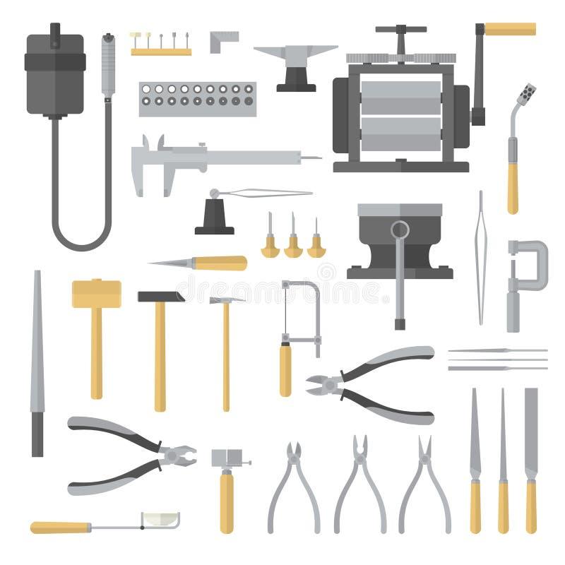 Sistema de herramientas de la joyería stock de ilustración