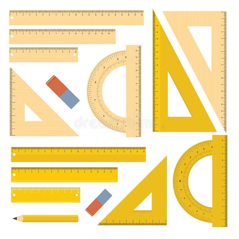 Sistema de herramientas de la cancillería de la regla, estilo plano stock de ilustración