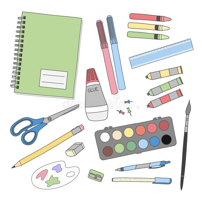 Sistema de herramientas de la escritura y de la bella arte stock de ilustración