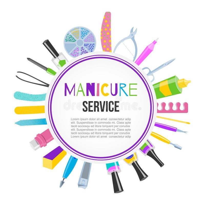 Sistema de herramientas de la pedicura de la manicura con el esmalte de uñas, tijeras, pulimento, crema, ejemplo del vector de la stock de ilustración