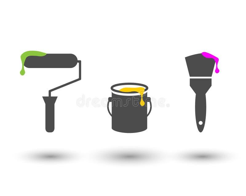 Sistema de herramientas de la pintura con el rodillo, el cubo y el cepillo stock de ilustración
