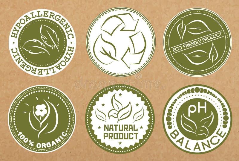 Sistema de hipoalérgico, reciclable, eco amistoso, insignias orgánicas, iconos, disposiciones de la etiqueta engomada stock de ilustración