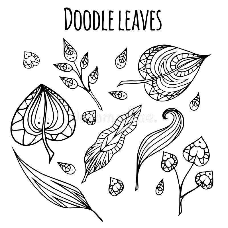 Sistema de hojas blancos y negros del garabato libre illustration