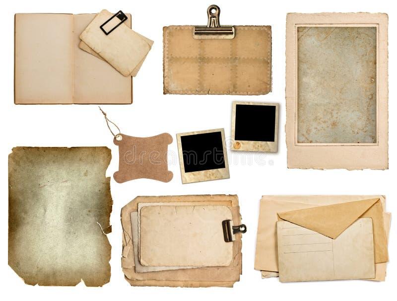 Sistema de hojas de papel viejas, libro, páginas, tarjetas foto de archivo