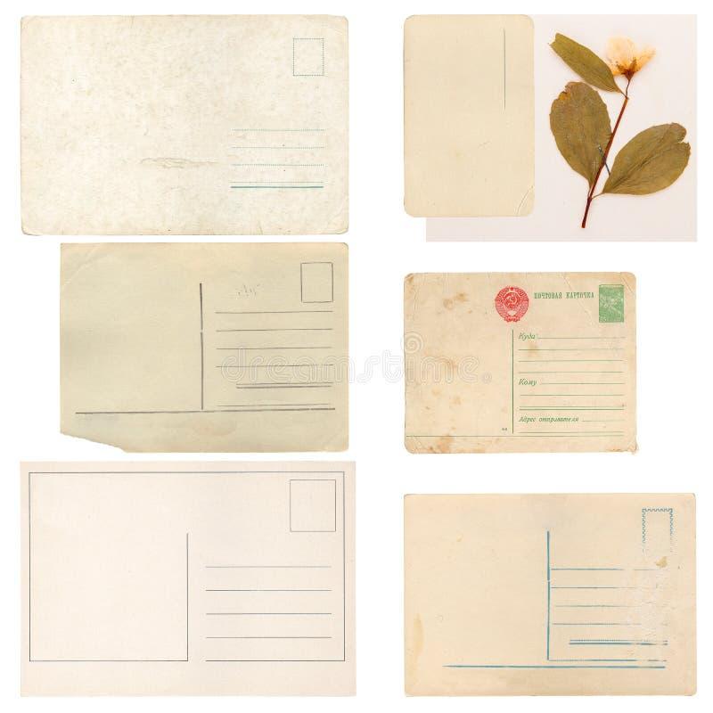 Sistema de hojas, del sobre y de la tarjeta de papel viejos fotografía de archivo libre de regalías