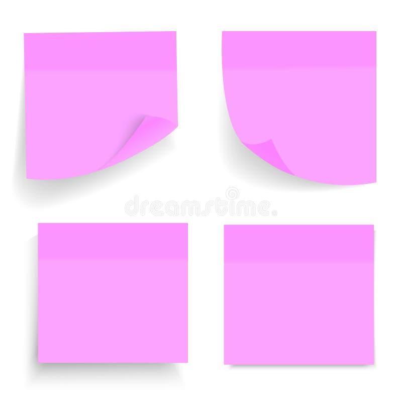 Sistema de hojas púrpuras del papel de la oficina o de etiquetas engomadas pegajosas con la sombra aislada en un fondo transparen stock de ilustración