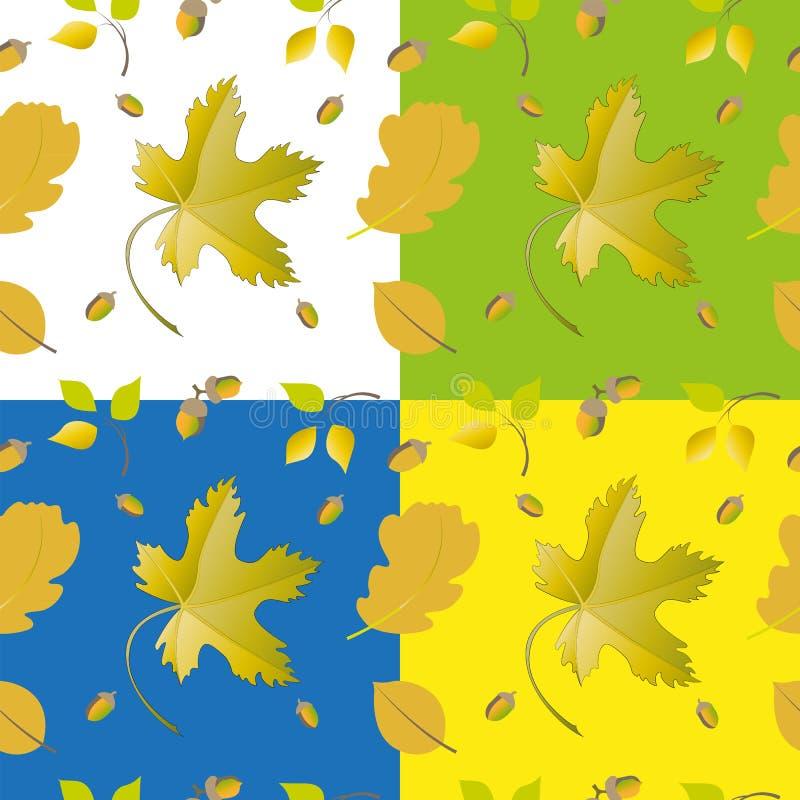 Sistema de hojas y de bellotas stock de ilustración