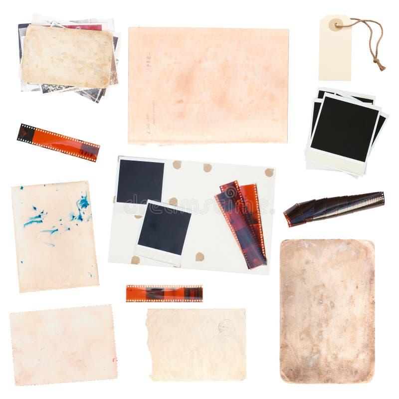 Sistema de hojas y de fotos de papel viejas del vintage fotografía de archivo libre de regalías