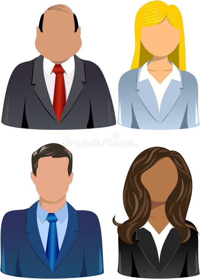 Sistema de hombres de negocios de los iconos ilustración del vector