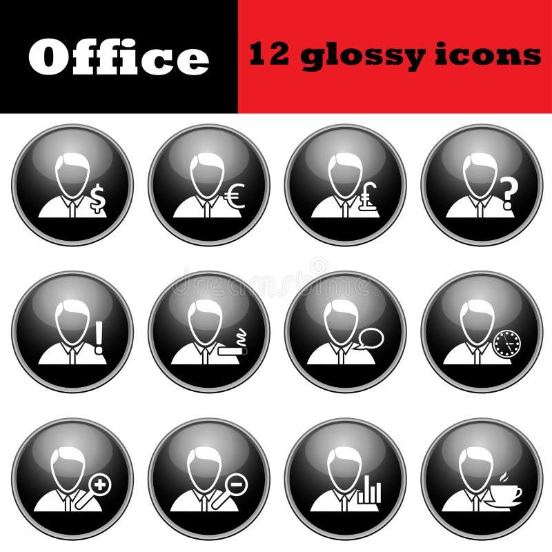 Sistema de hombres de negocios de los iconos brillantes stock de ilustración