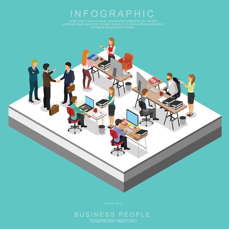 Sistema de hombres de negocios isométricos de la reunión del trabajo en equipo en oficina ilustración del vector