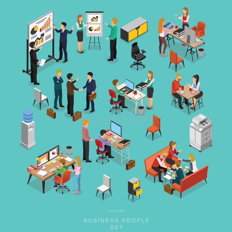 Sistema de hombres de negocios isométricos de la reunión del trabajo en equipo en oficina libre illustration