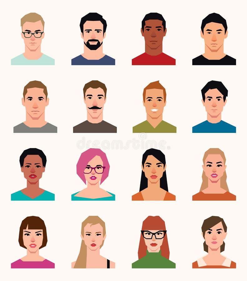 Sistema de hombres de los iconos de los avatares del vector y de mujeres de diverso nationali ilustración del vector